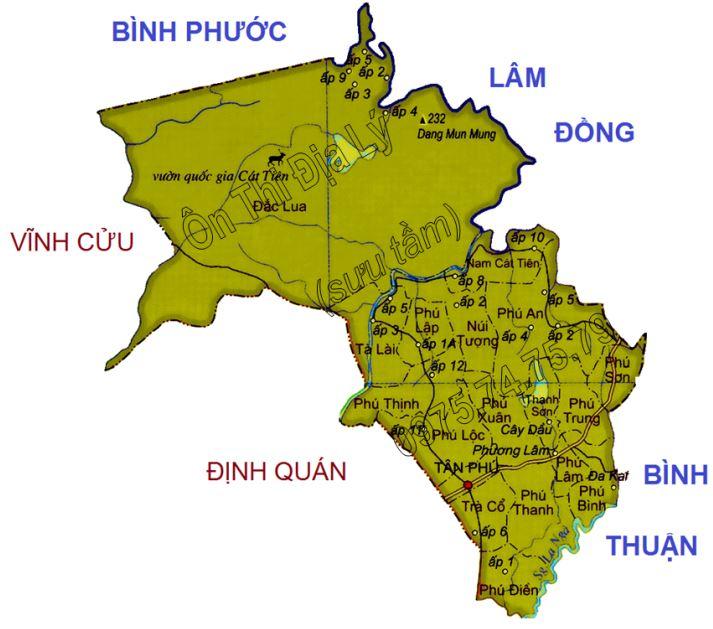 Bản đồ hành chính huyện Tân Phú tỉnh Đồng Nai