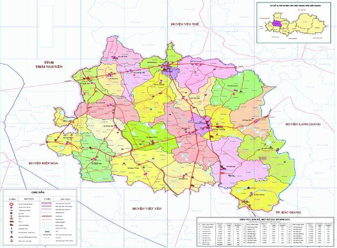 Bản đồ hành chính huyện Tân Yên tỉnh Bắc Giang