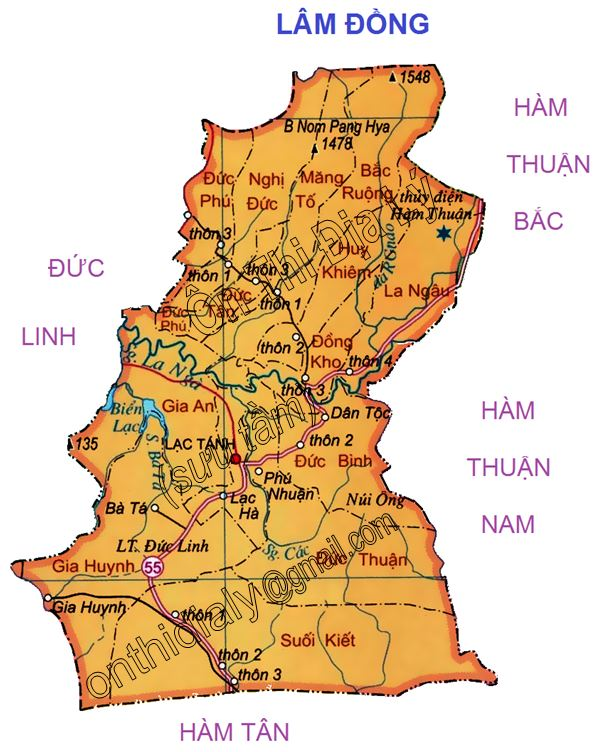 Bản đồ hành chính huyện Tánh Linh