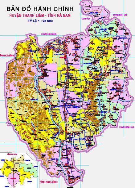 Bản đồ hành chính huyện Thanh Liêm, tỉnh Hà Nam