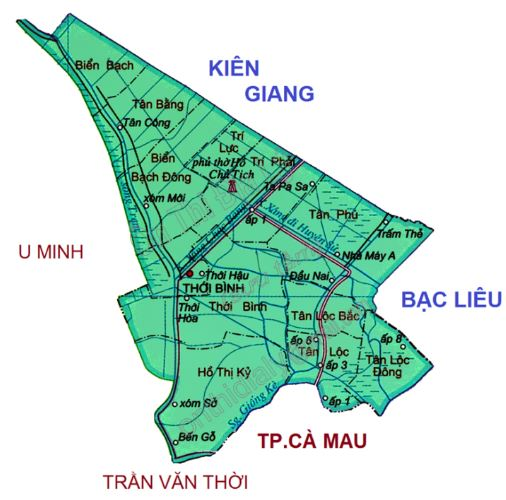 Bản đồ hành chính huyện Thới Bình tỉnh Cà Mau