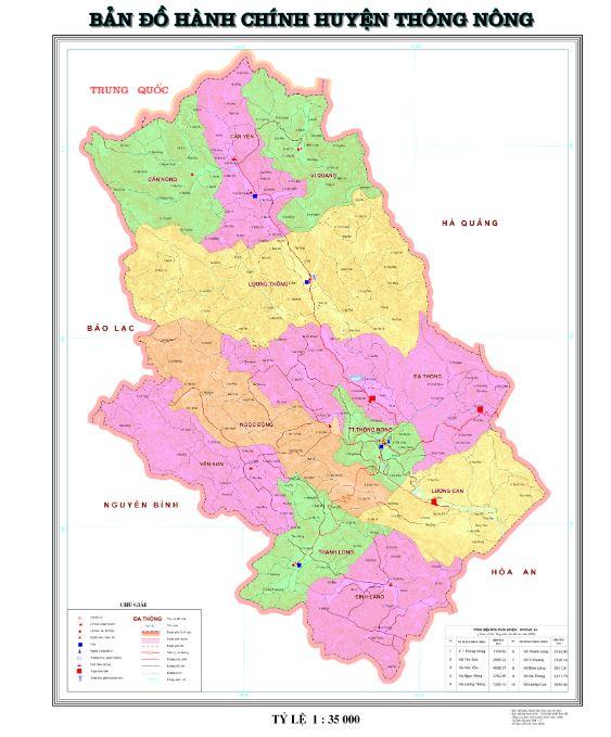 Bản đồ hành chính huyện Thông Nông tỉnh Cao Bằng