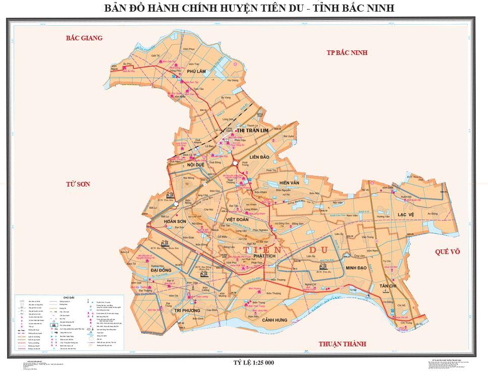 Bản đồ hành chính huyện Tiên Du tỉnh Bắc Ninh
