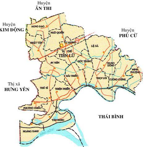 Bản đồ hành chính huyện Tiên Lữ, tỉnh Hưng Yên