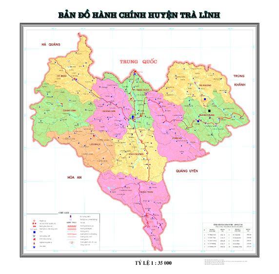 Bản đồ hành chính huyện Trà Lĩnh tỉnh Cao Bằng
