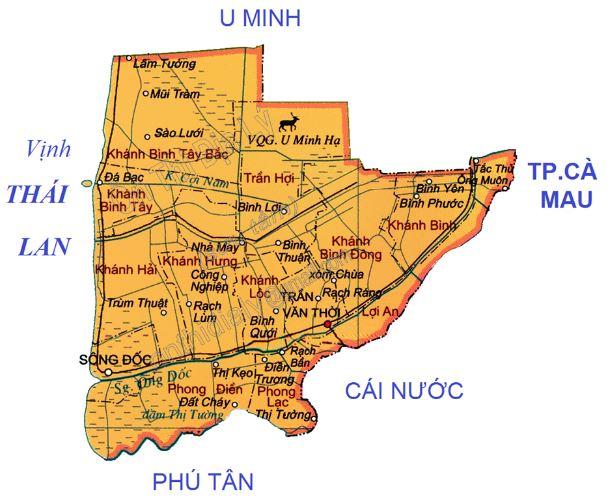 Bản đồ hành chính huyện Trần Văn Thời tỉnh Cà Mau