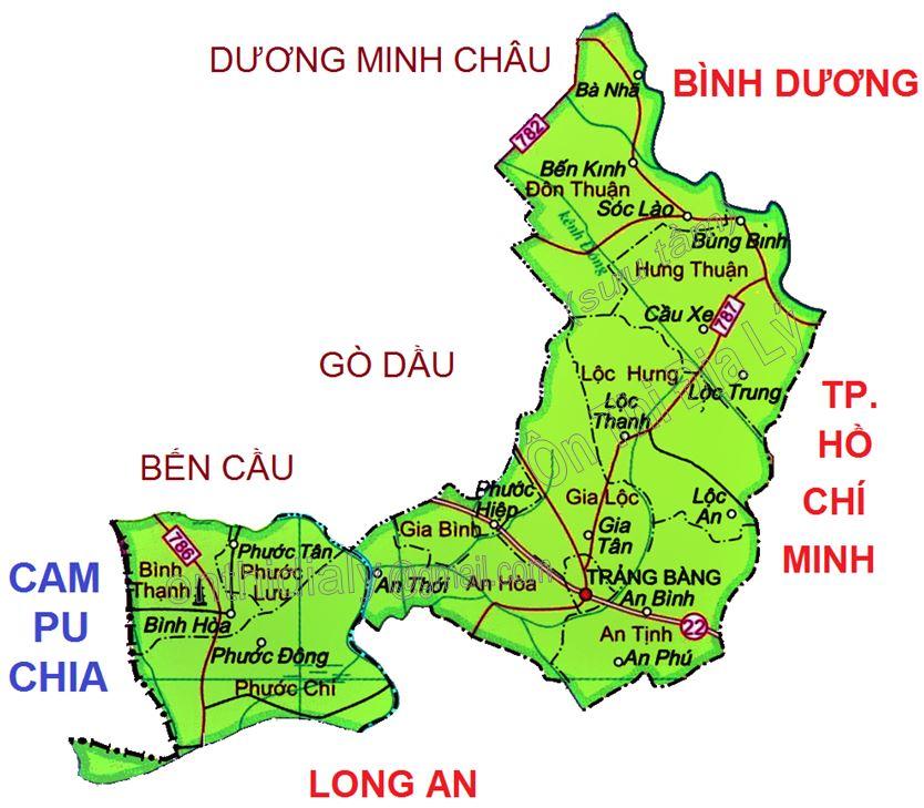 Bản đồ hành chính huyện Trảng Bàng, tỉnh Tây Ninh