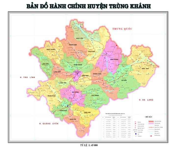 Bản đồ hành chính huyện Trùng Khánh tỉnh Cao Bằng