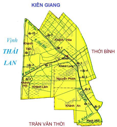 Bản đồ hành chính huyện U Minh tỉnh Cà Mau