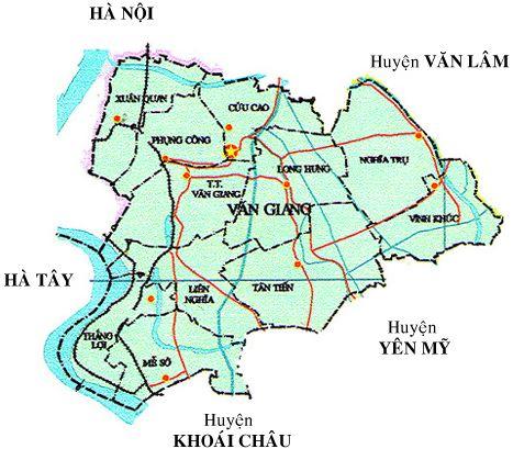 Bản đồ hành chính huyện Văn Giang, tỉnh Hưng Yên