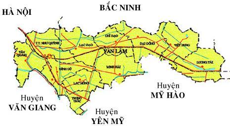 Bản đồ hành chính huyện Văn Lâm tỉnh Hưng Yên