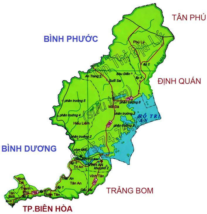 Bản đồ hành chính huyện Vĩnh Cửu tỉnh Đồng Nai