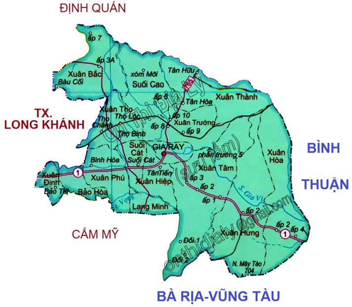 Bản đồ hành chính huyện Xuân Lộc tỉnh Đồng Nai