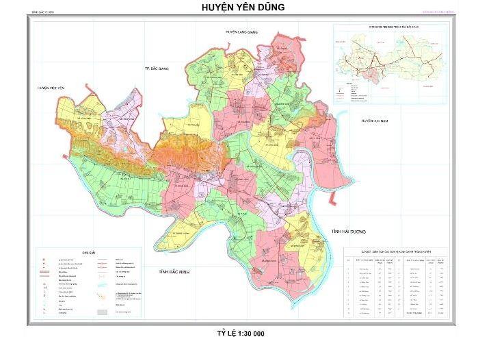 Bản đồ hành chính huyện Yên Dũng tỉnh Bắc Giang
