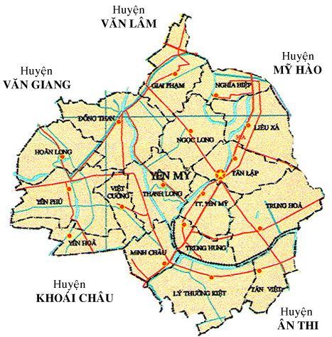 Bản đồ hành chính huyện Yên Mỹ, tỉnh Hưng Yên