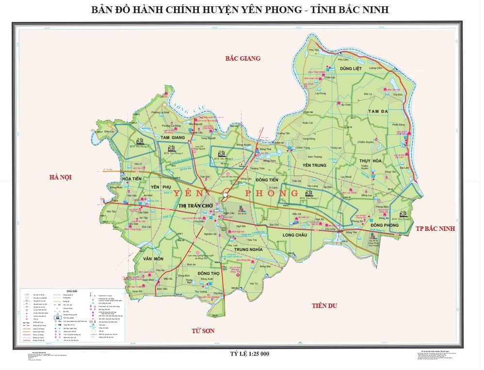 Bản đồ hành chính huyện Yên Phong tỉnh Bắc Ninh