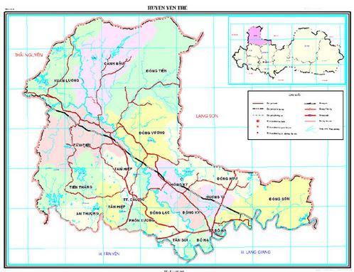 Bản đồ hành chính huyện Yên Thế tỉnh Bắc Giang