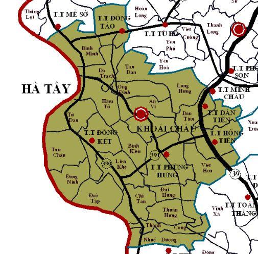Bản đồ hành chính huyện Khoái Châu, tỉnh Hưng Yên
