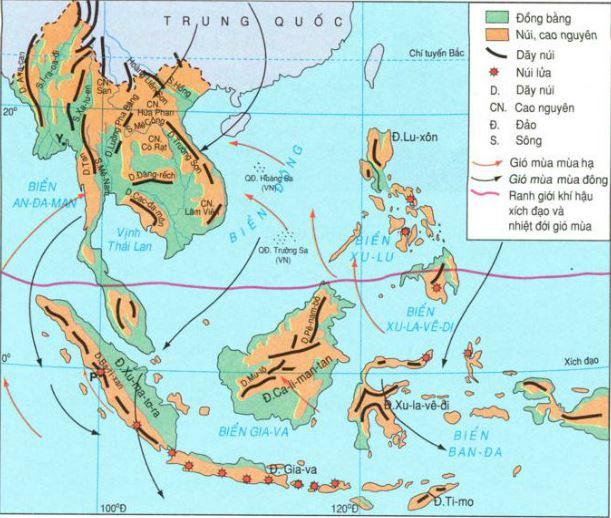 Bản đồ thể hiện hướng gió khu vực Đông Nam Á