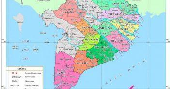 Bản đồ các tỉnh miền Tây Nam Bộ, Việt Nam