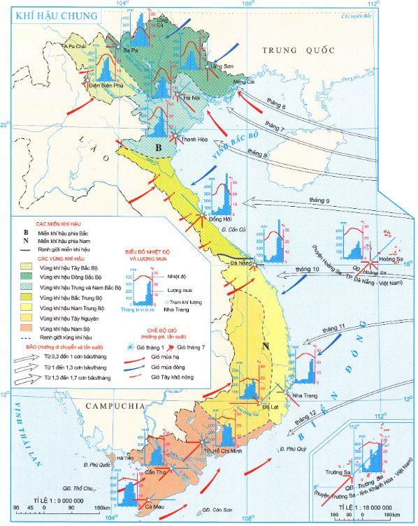 Khí hậu miền Nam qua bản đồ khí hậu chung Việt Nam