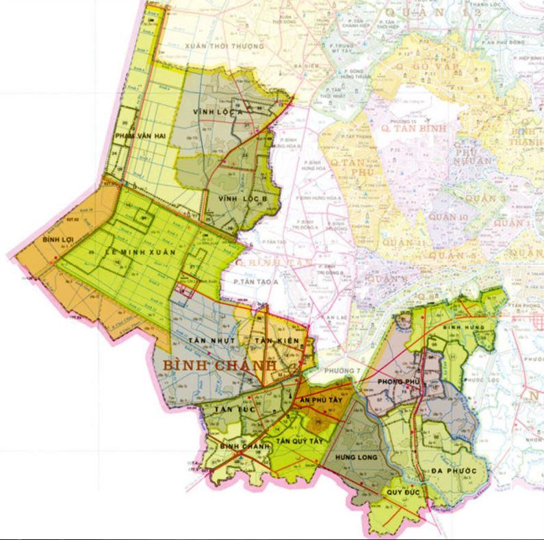 Bản đồ hành chính huyện Bình Chánh thành phố Hồ Chí Minh