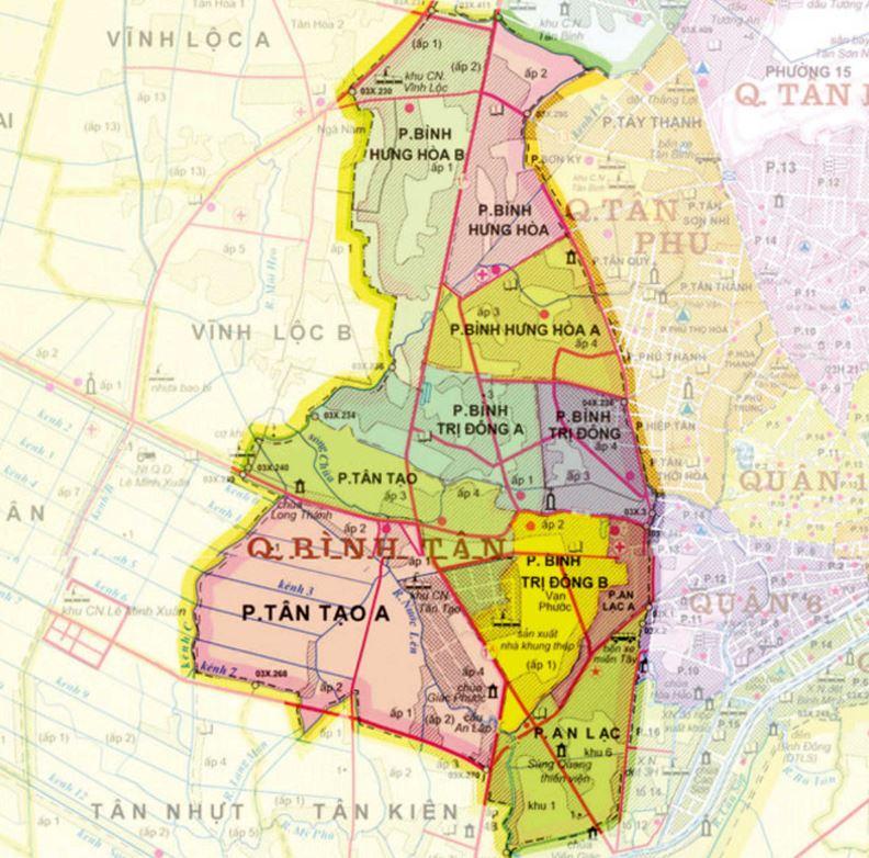 Bản đồ hành chính quận Bình Tânthành phố Hồ Chí Minh