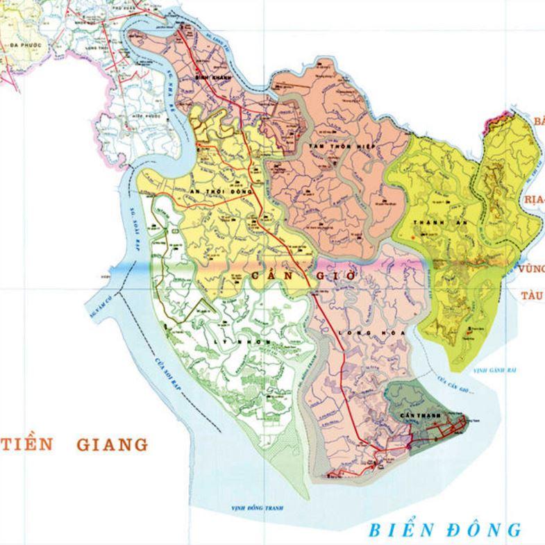 Bản đồ hành chính huyện Cần Giờ thành phố Hồ Chí Minh