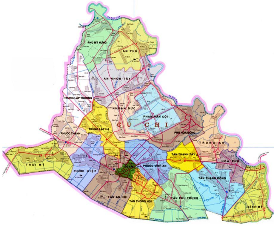 Bản đồ hành chính huyện Củ Chi thành phố Hồ Chí Minh