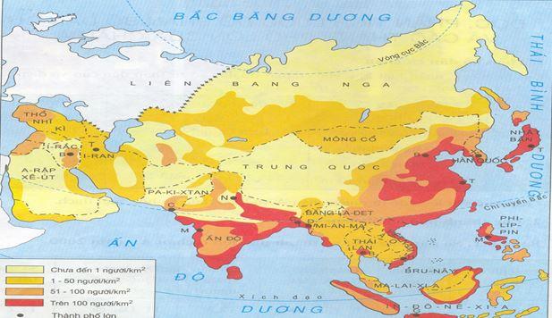 Bản đồ thể hiện dân cư các quốc gia khu vực Đông Nam Á