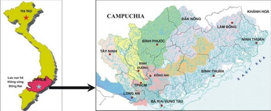 Vị trí các tỉnh Đông Nam Bộ qua bản đồ Việt Nam