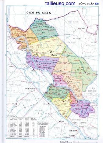 Bản đồ hành chính tỉnh Đồng Tháp miền Tây Nam Bộ