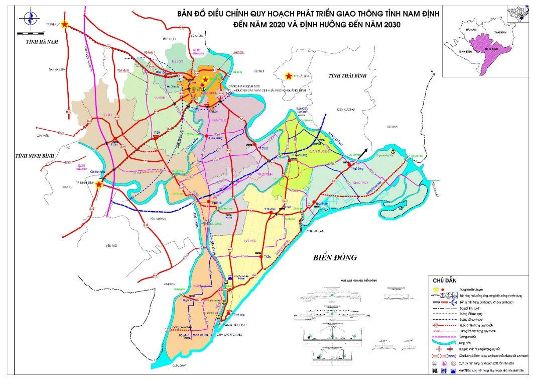 Bản đồ mạng lưới giao thông tỉnh Nam Định