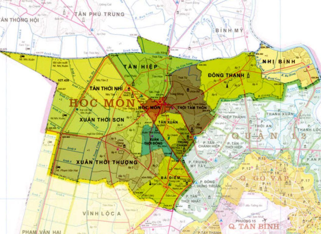 Bản đồ hành chính huyện Hóc Môn thành phố Hồ Chí Minh