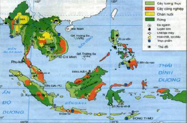 Bản đồ thể hiện các ngành kinh tế của các nước trong khu vực Đông Nam Á