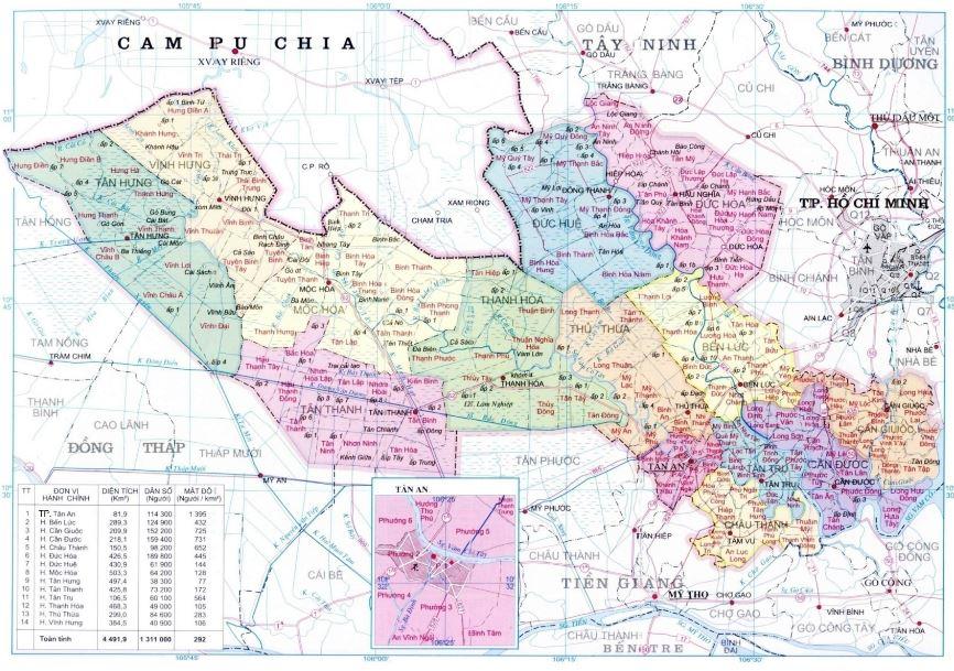 Bản đồ hành chính tỉnh Long An miền Tây Nam Bộ