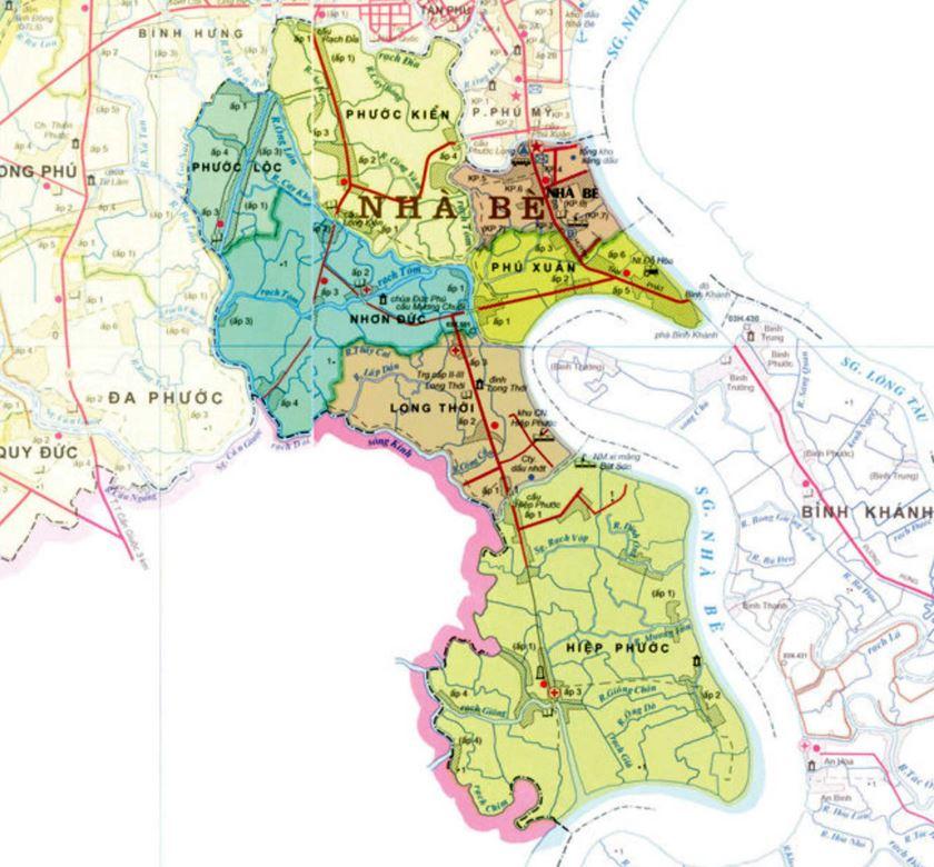 Bản đồ hành chính huyện Nhà Bè thành phố Hồ Chí Minh