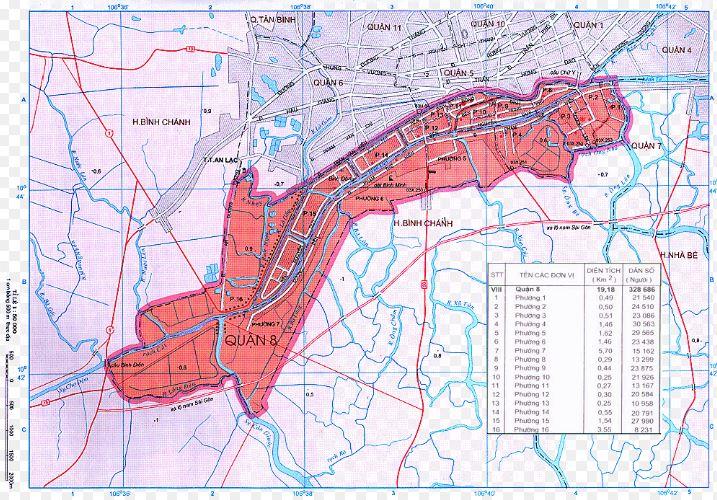 Bản đồ hành chính quận 8 thành phố Hồ Chí MinhBản đồ hành chính quận 8 thành phố Hồ Chí Minh