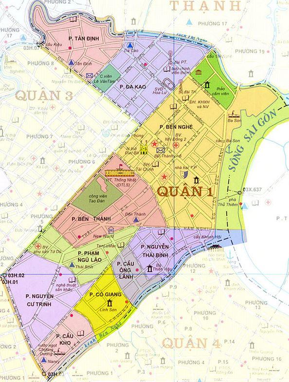 Bản đồ hành chính quận 1 thành phố Hồ Chí Minh
