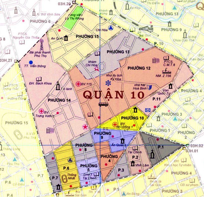 Bản đồ hành chính quận 10 thành phố Hồ Chí Minh