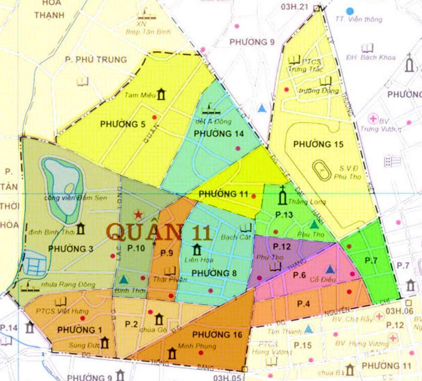 Bản đồ hành chính quận 11 thành phố Hồ Chí Minh