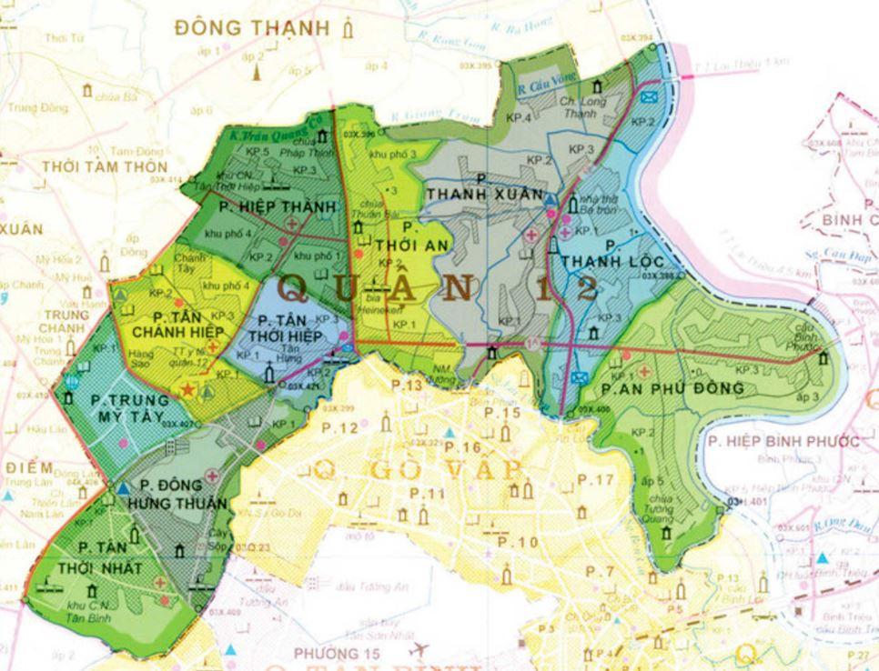 Bản đồ hành chính quận 12 thành phố Hồ Chí Minh