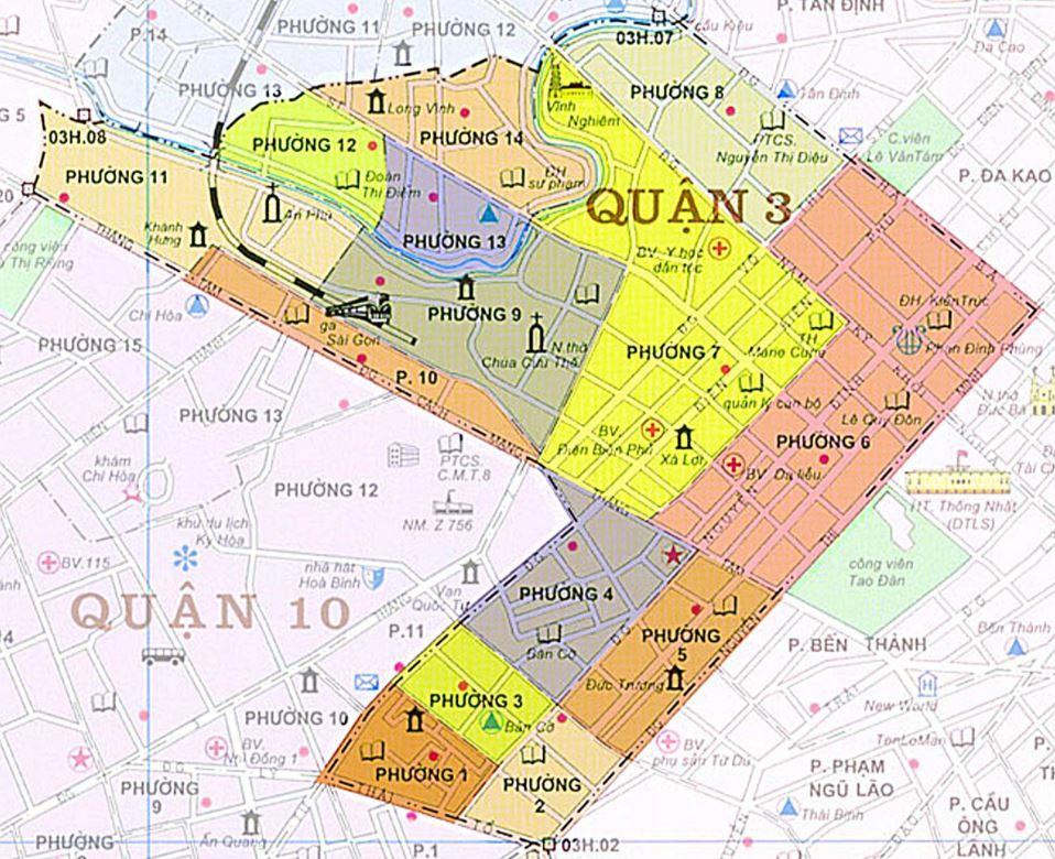 Bản đồ hành chính quận 3 thành phố Hồ Chí Minh