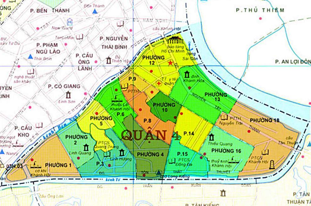 Bản đồ hành chính quận 4 thành phố Hồ Chí Minh