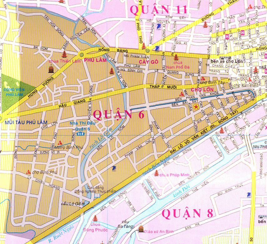 Bản đồ hành chính quận 6 thành phố Hồ Chí Minh