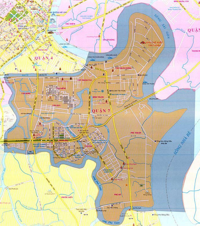 Bản đồ hành chính quận 7 thành phố Hồ Chí Minh