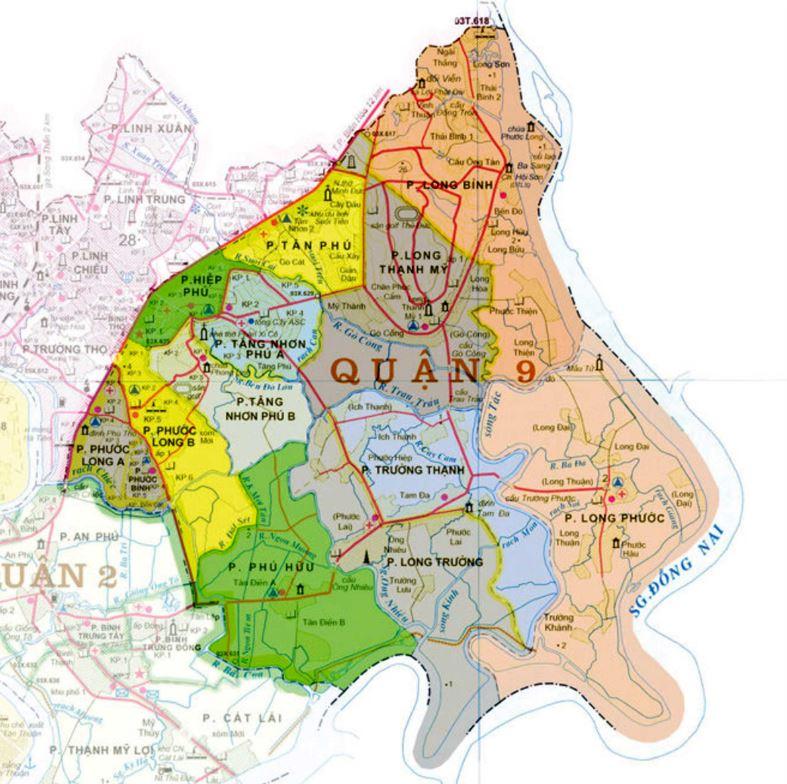 Bản đồ hành chính quận 9 thành phố Hồ Chí Minh