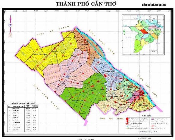 Bản đồ hành chính thành phố Cần Thơ miền Tây Nam Bộ