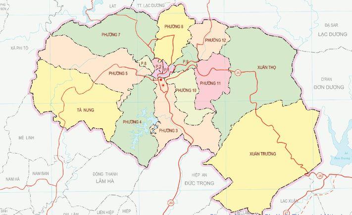 Bản đồ thành phố Đà Lạt tỉnh Lâm Đồng