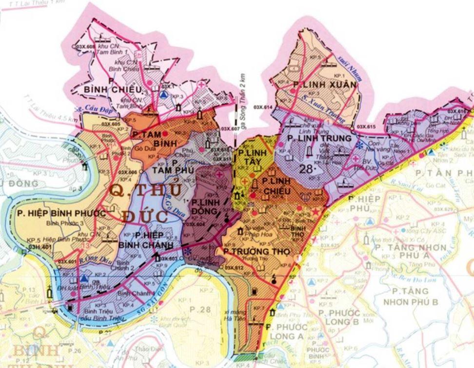 Bản đồ hành chính quận Thủ Đức